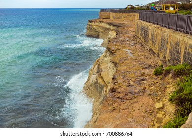 View from the cliff to the Mediterranean Sea, Malta Island