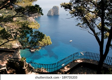 View from a cliff on the island of Capri, Italy, and rocks in the sea