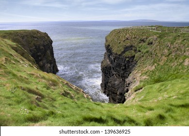 a view from a cliff walk on the top of the cliffs in Ballybunion county Kerry Ireland