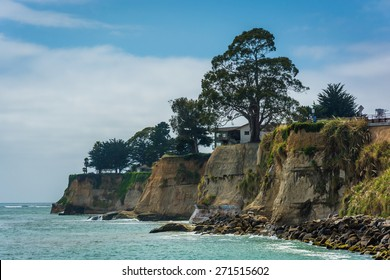 View of cliffs along the Pacific Ocean, in Capitola, California.
