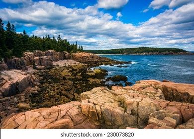 View of cliffs and the Atlantic Ocean in Acadia National Park, Maine.