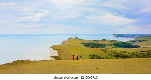 View of the Cliffs from Beachy Head towards Belle Tout Lighthouse and Birling Gap, Eastbourne Downland, South Downs National Park, England