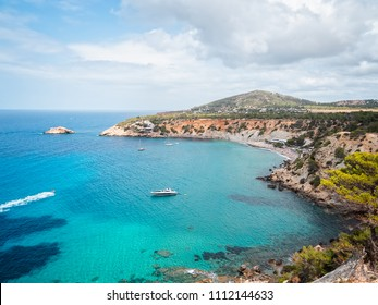 View from the cliffs of the cala D'owrt natural park, from the beach, cala d'hort, in Ibiza, Spain