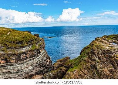 View to the cliffs at the coast in the Brough  Of Deerness Orkney in Orkney Council - Scotland