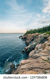 View of cliffs from Cooksey Drive Overlook, on Mount Desert Island, Maine