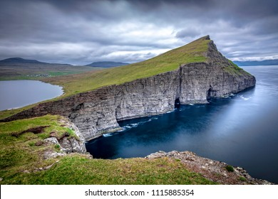 view of cliffs near Sørvágsvatn lake in faroe island