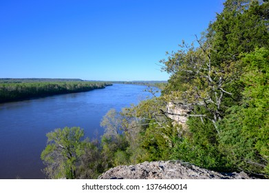 View from the cliffs on the Lewis and Clark Trail on the Missouri River