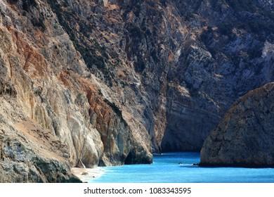 View of the cliffs at Porto Katsiki beach, Lefkada, Greece