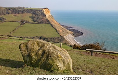 View of the cliffs at Salcombe Regis beach from the South West Coastal path on Salcombe Hill cliff above Sidmouth, East Devon