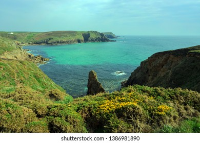 The View from the Clifftops towards Nanjizel, near Land's End, Cornwall UK