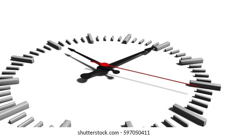 view of a clock face with hour minute and second hand in a simple 3d illustration