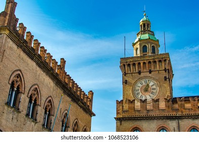 View at clock Tower on Palazzo Comunale in Bologna. Italy