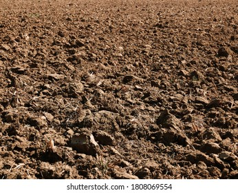 view of clods of earth in a cultivated field