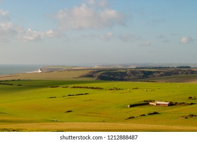 View from close to Beachy Head across the South Downs towards Seaford Head