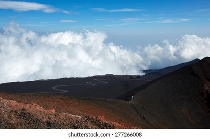 View of the clouds from the mountain Etna, Sicily volcano