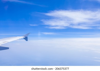 View of clouds from a plane window