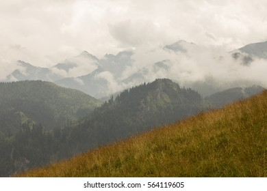 A view of the cloudy sky in the mountains