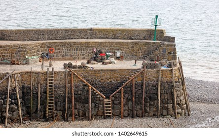 View of Clovelly Harbour wall, Devon