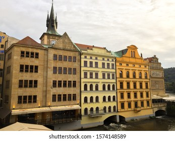 View of club and restaurant Lavka and Bedrock Smetana Museum from Charles Bridge - 09.25.2019.
