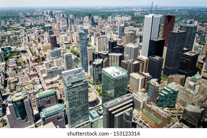 View from CN Tower of Downtown buildings