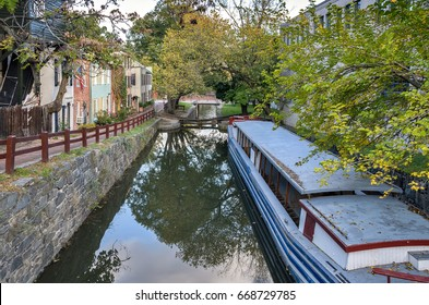 View of C&O canal in Georgetown, Washington DC