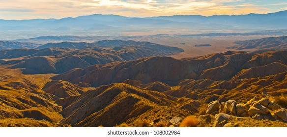 view of the Coachella Valley from the popular Keys View in the Little San Bernardino Mountains, Joshua Tree National Park