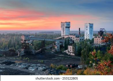 view of the coal mine. Donetsk, Ukraine