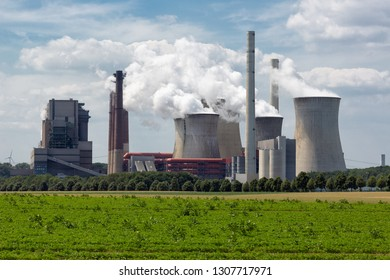 View at Coal-fired power plant near lignite mine garzweiler in Germany