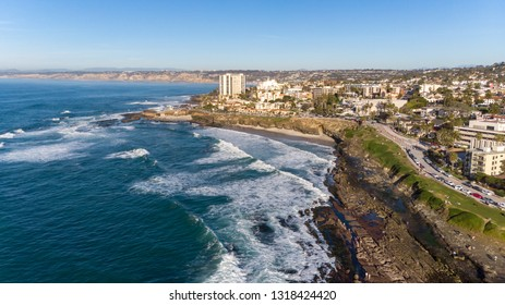 View of the coast from above via drone in La Jolla, California