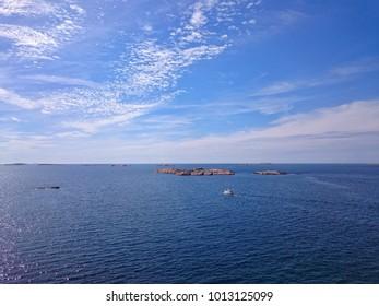 View of coast and archipelago off Lysekil in Bohuslän, Västra Götaland County, Sweden.