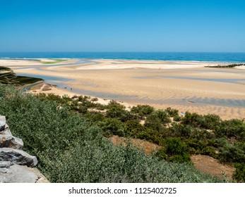 View of the coast below Forte de Cacela, Algarve, Portugal