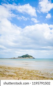 View of the coast of Cornwall at Marazion, a major tourist attraction in Cornwall, England