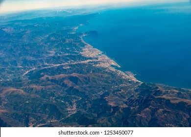 View of the coast of the French Riviera during the approach to the airport of Nice.