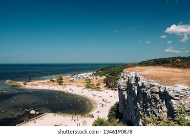 View of the coast of Gotland and people on the beach