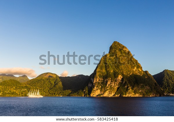 View of the coast of the island of St. Lucia from the deck of a cruise ship