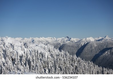 View of the Coast mountains on the north shore from Mount Seymour Provincial Park, British Columbia, Canada