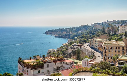 View of the coast of Naples, Italy.