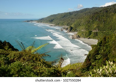 A view from the Coast Road on New Zealand's West Coast north of Greymouth, rated as one of the top ten scenic routes in the world.