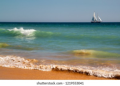 View of coast and seascape in Albufeira, District Faro, Algarve, Southern Portugal