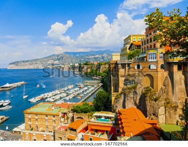View of the coast in Sorrento, Italy.