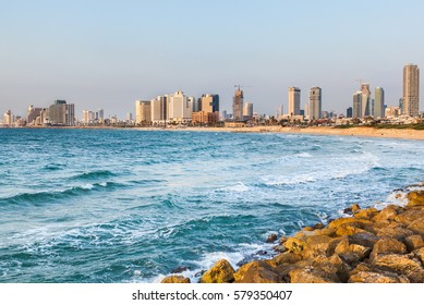View of the coast of Tel Aviv at sunset, Israel