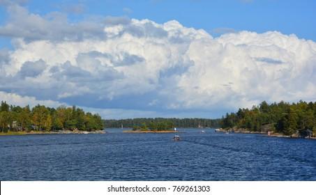 View of the coast of Vartiosaari island in Helsinki Finland