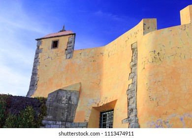 View of the coastal fortress of Sao Joao das Maias, built in the seventeenth century, in Oeiras, Portugal