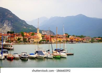 view of the coastal village at Maggiore lake, Italy
