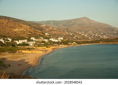 View of the coastline, Agio Petros beach and Paralia Kato Agios Petros in Gavrio, Andros island, Greece