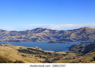 View of the coastline around Akaroa harbour, Canterbury region, South Island of New Zealand.
