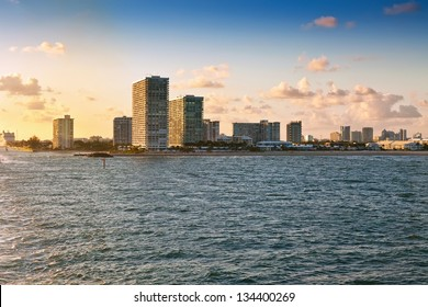 View of the coastline and beaches near sunset from  Fort Lauderdale, Florida