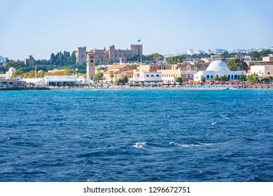 View of coastline of City of Rhodes with Grand Master palace in background (Rhodes, Greece)