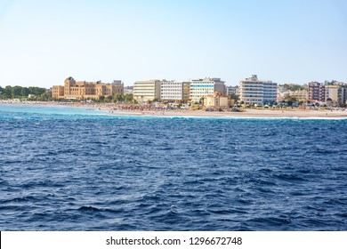 View of coastline of City of Rhodes lined with hotels on Elli beach (Rhodes, Greece)
