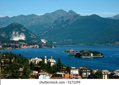 View of the coastline of Lago Maggiore, Italy.